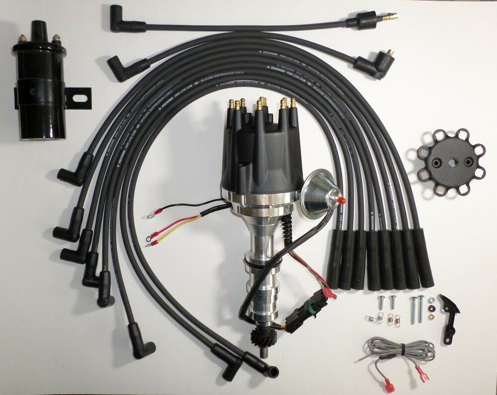 hight resolution of details about small cap ford fe 352 390 427 428 black hei distributor 45k coil plug wires