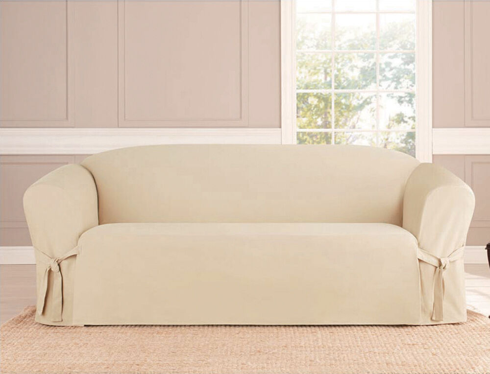 MICROSUEDE SLIPCOVER SOFA LOVESEAT CHAIR FURNITURE COVER TAUPE BLACK BROWN  eBay