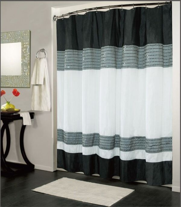 Ibiza Black White Luxury Fabric Shower Curtain Bathroom Accessories 70
