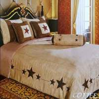 Western Luxury Embroidery Lone Brown Star Comforter Micro ...