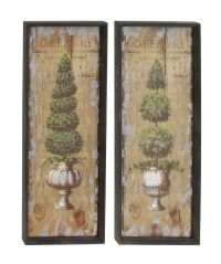 "Pair 45"" Large Shrub Topiary Wood Wall Art French Country ..."