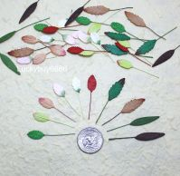 50 Mixed Mini Leaves Leaf Scrapbook Craft Mulberry Paper