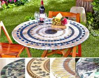 Fitted Mosaic Tablecloth IN HAND Square Round Elastic ...