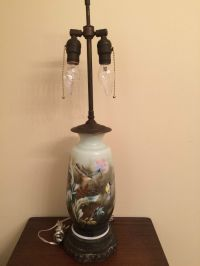 VINTAGE VICTORIAN LUSTRE GLASS TABLE LAMP HAND PAINTED ...