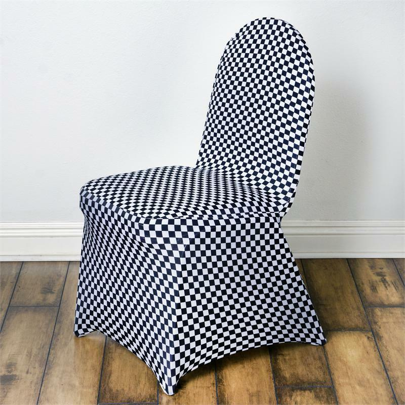 chair covers for purchase bluetooth gaming checkered spandex cover - white / black | ebay