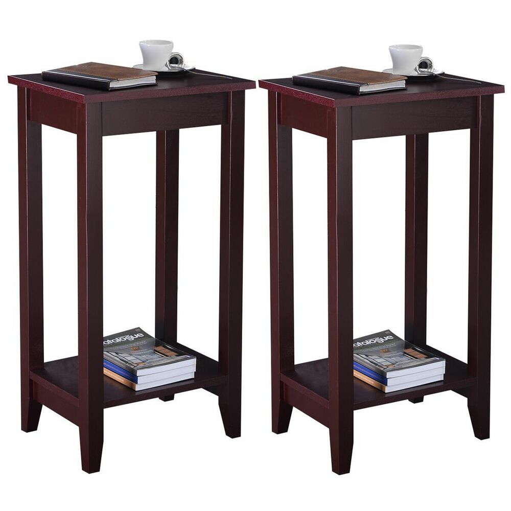 Set of 2 COSTWAY Tall End Table Coffee Stand Night Side