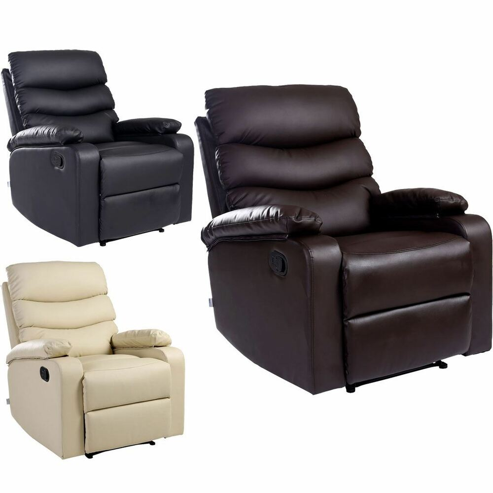Leather Reclining Chairs Ashby Leather Recliner Armchair Sofa Home Lounge Chair Reclining Ebay