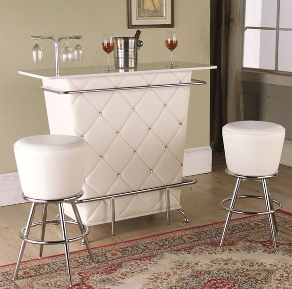 NEW 3PC APOLLO CONTEMPORARY WHITE TUFTED BYCAST LEATHER