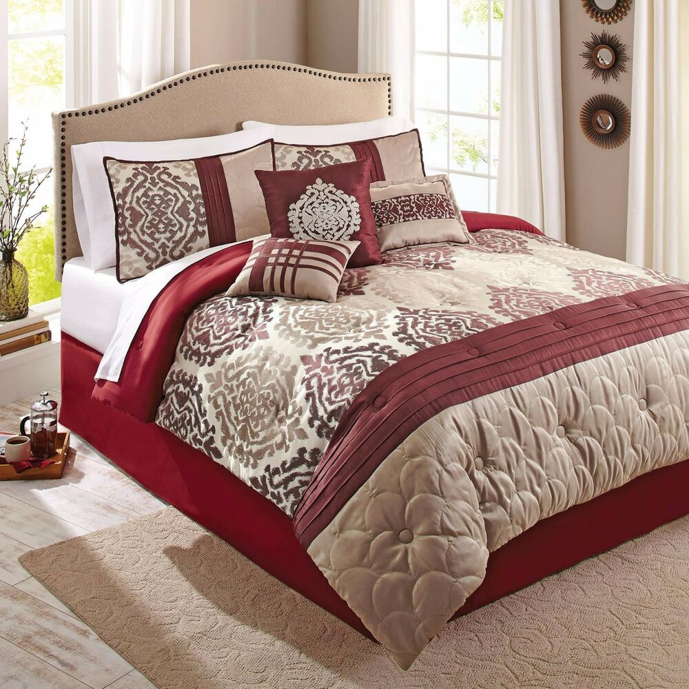 Scrollwork 7Piece Red Beige Ikat EyeCatching Bedding Comforter Set Elegant New  eBay