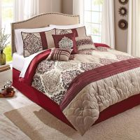 Scrollwork 7-Piece Red Beige Ikat Eye-Catching Bedding ...