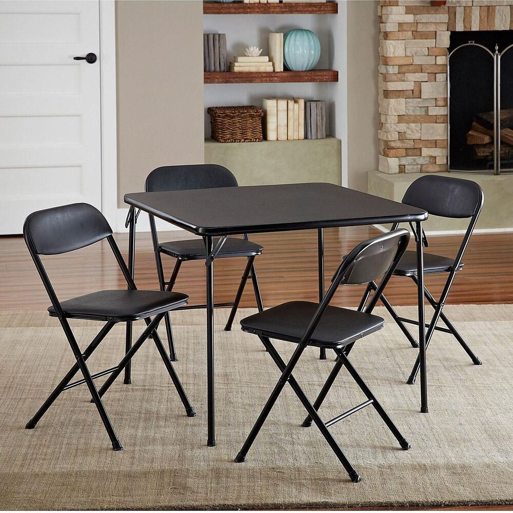 Folding Dining Table Set of 5  Table and 4 Chairs Black