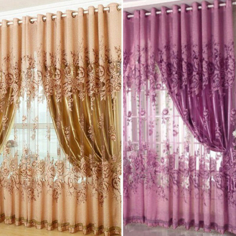 1pc Floral Voile Window Curtain Blackout Tulle Curtain