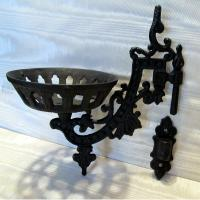 Victorian style iron WALL BRACKET for old or antique oil ...