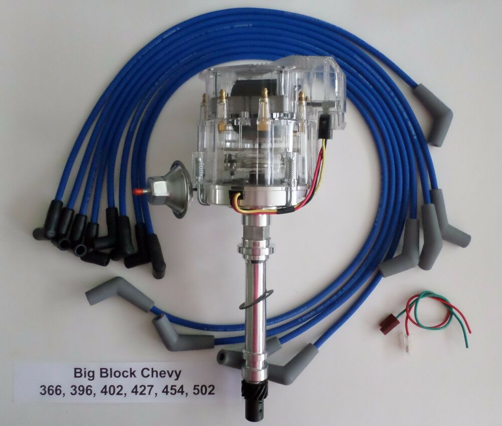 medium resolution of details about big block 396 427 496 chevy clear cap hei distributor blue plug wires 45 degree