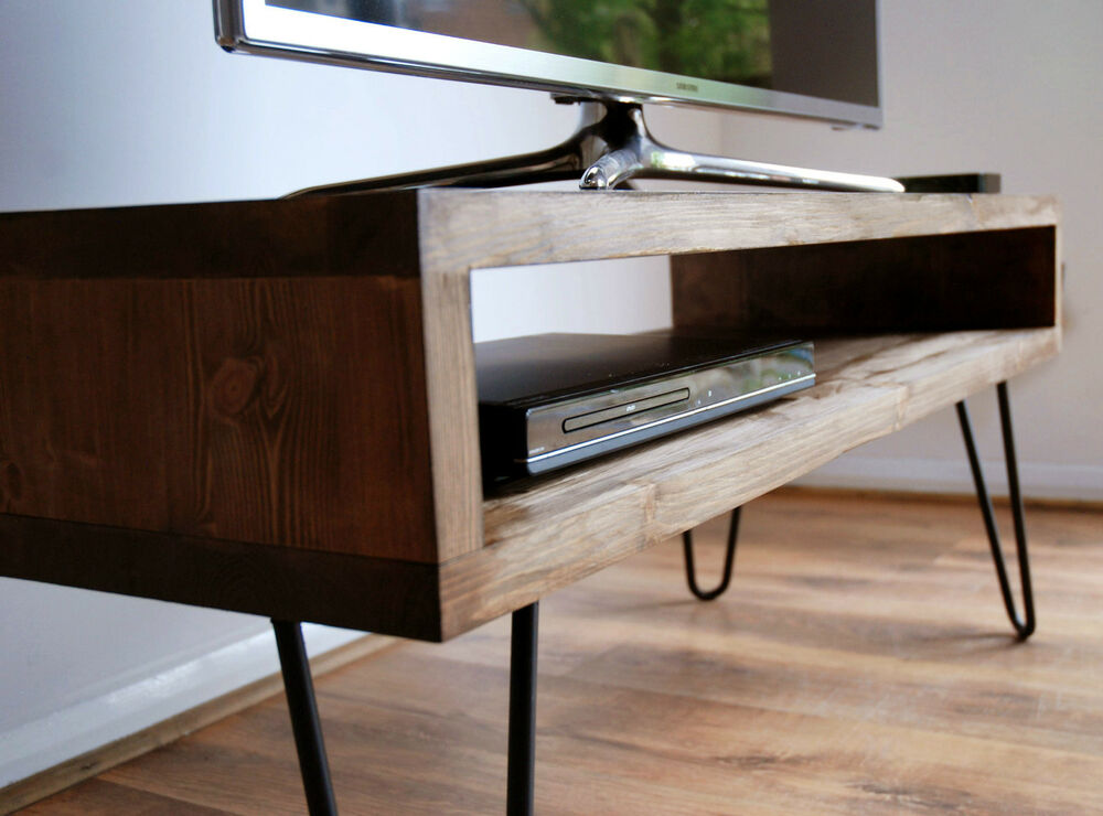 Vintage Retro Box TV Stand W/ Metal Hairpin Legs Solid