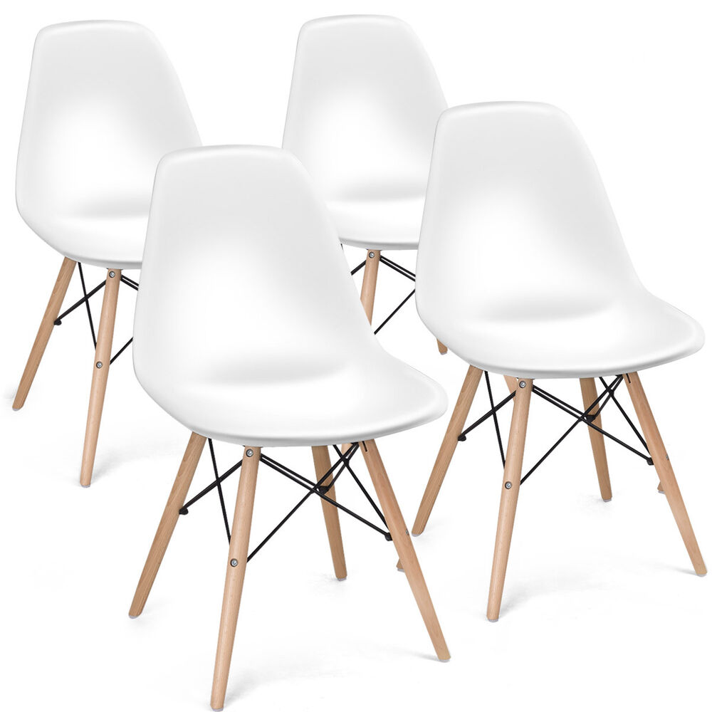 COSTWAY Set of 4 Mid Century Modern Eames Style DSW Dining ...