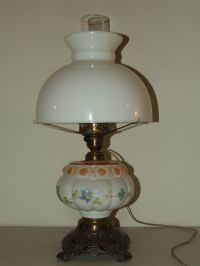 Antique Porcelain Victorian Electric Oil GWTW Table Lamp
