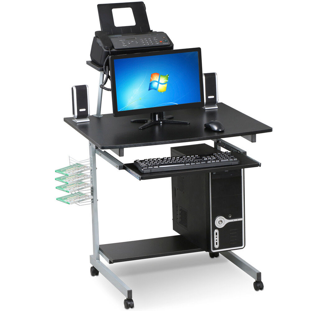 Mobile Computer Desk with Keyboard TrayPrinter Shelf and