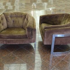 Swivel Arm Chairs Reupholster Office Chair Armrest Rare Pair Of 70's Polished Chrome Suede Milo Baughman Barrel Club Lounge | Ebay