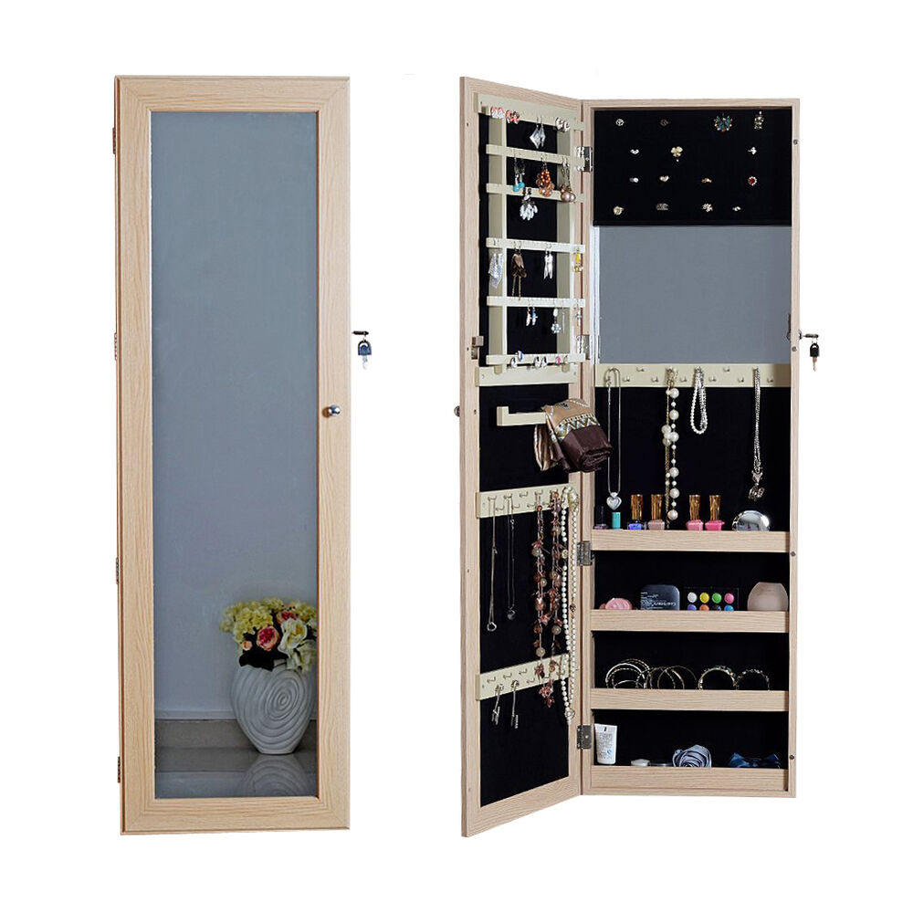 Full Length Mirror Jewelry Armoire Cabinet Chest with Lock