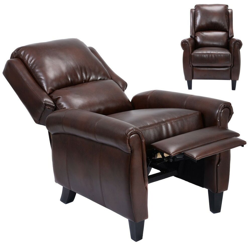 Recliner Accent Leather Chair Push Back Living Room Home