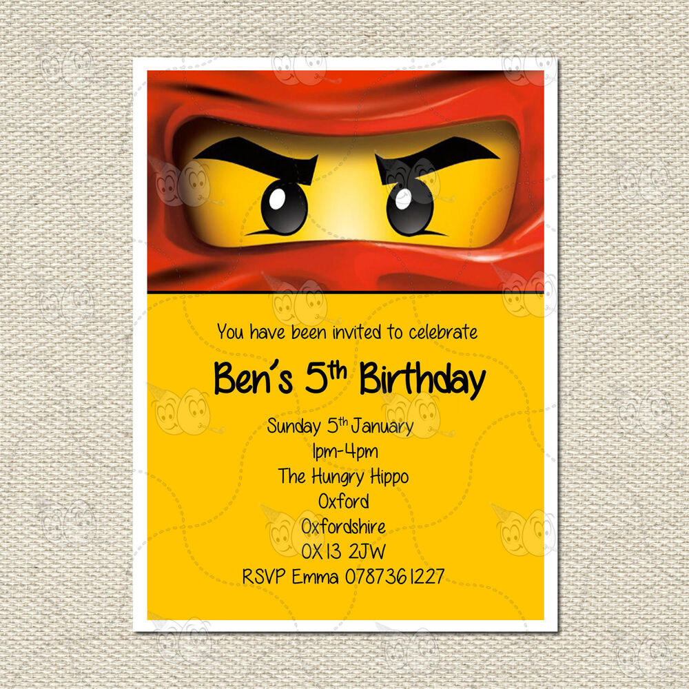 Personalised Lego Ninjago Childrens Kids Party Birthday