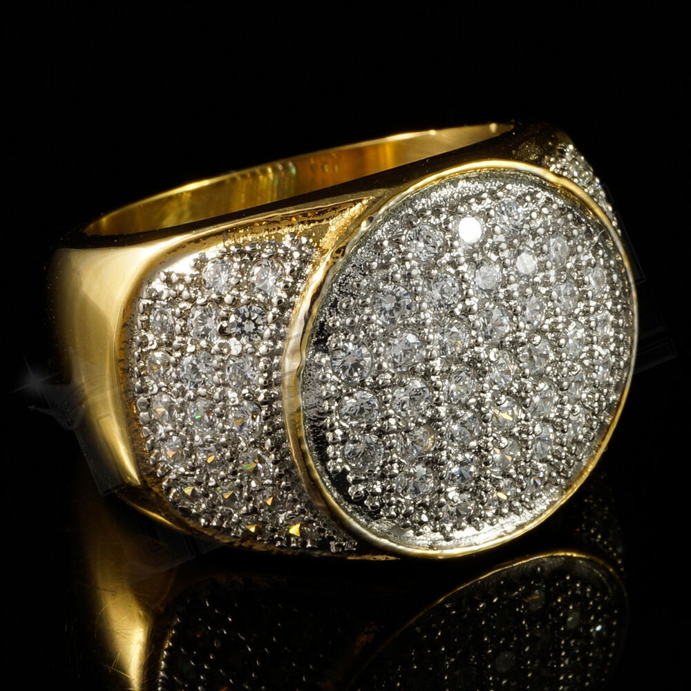 18K IP Gold Stainless Steel Simulated Diamond Band