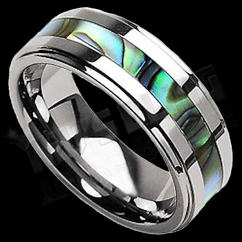 Silver Tungsten Carbide Abalone Shell Inlay Wedding Band