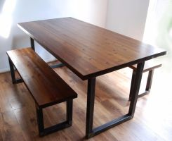 Industrial Vintage Rustic Dining Kitchen Table Bench Set ...