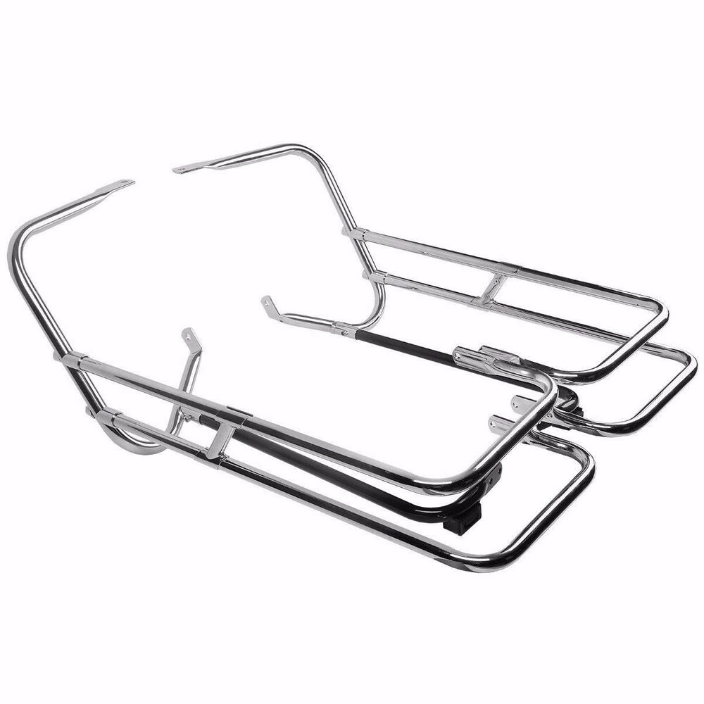 CHROME TWIN RAIL SADDLEBAG GUARD KIT FOR HARLEY DAVIDSON