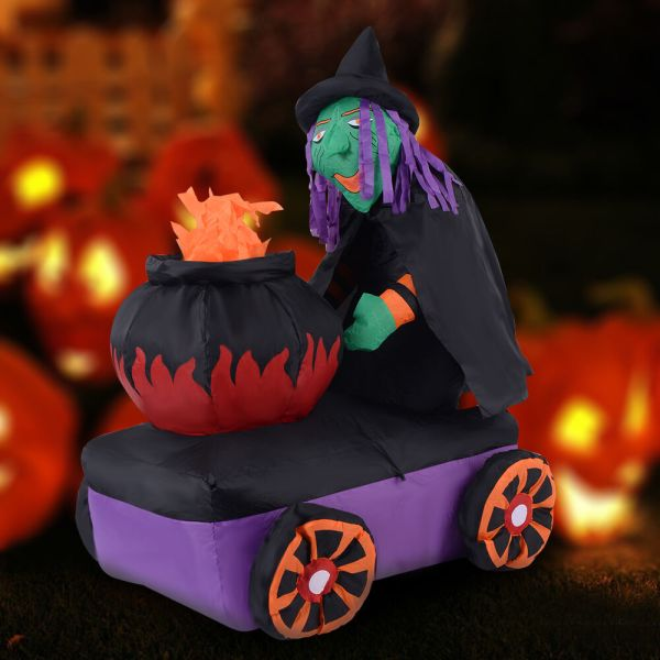 5.4ft Halloween Inflatable Witch Cauldron Light Yard