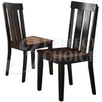 Set of 2 Dining Side Chairs Rustic Distressed Wood Seating