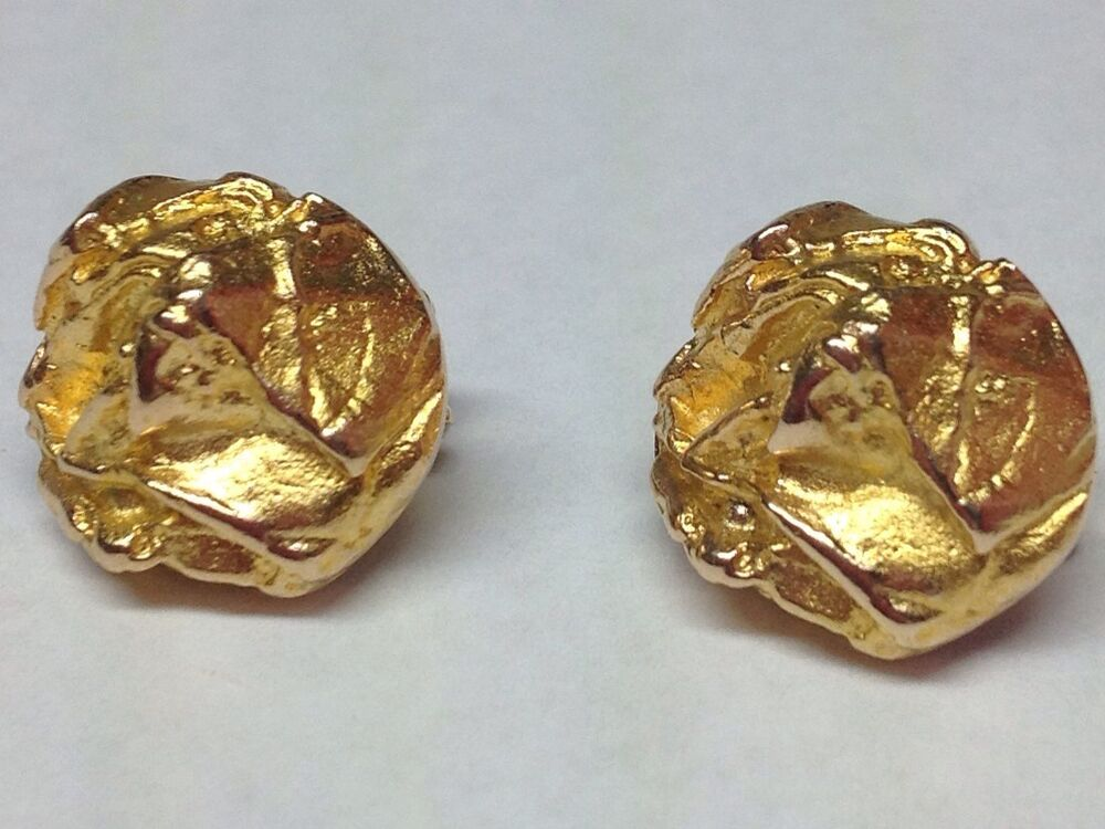 """""""LAPPONIA"""" 14K YELLOW GOLD NUGGET STYLE CLIP EARRINGS"""