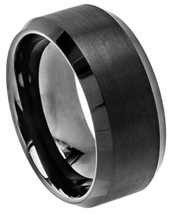 Tungsten Carbide Ring Men Women Wedding Band Brushed Center Beveled Edge 10mm