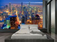 City Buildings Chicago Skyline Night Wall Mural Photo ...