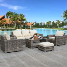 7 Pcs Outdoor Patio Wicker Furniture Sets Rattan Sofas