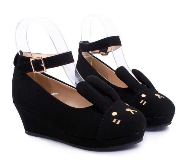 Black Cute Ankle Strap Buckle Kids Girls Bunny Ears Wedge