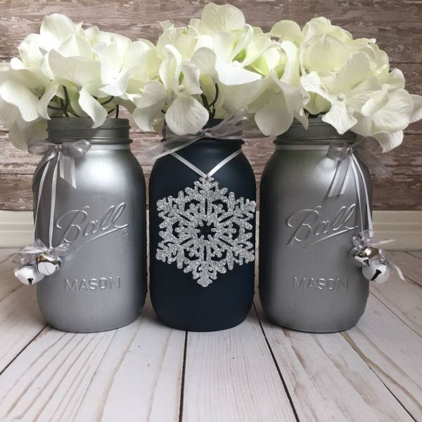 Navy Blue and Silver Mason Jars Christmas Table
