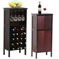 Wood Wine Cabinet Bottle Holder Storage Kitchen Home Bar
