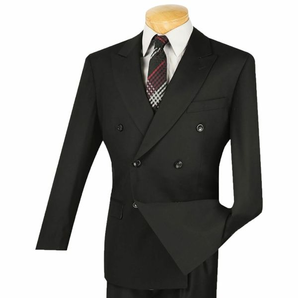 Black 6 Button Double Breasted Suit