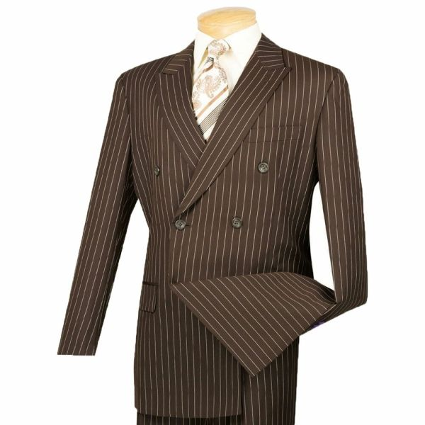Men' Brown Pinstripe Double Breasted 6 Button Classic Fit Suit