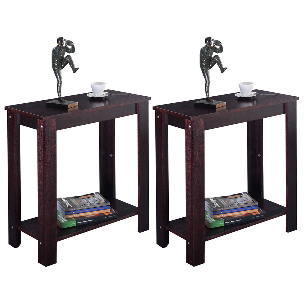 2PC Chair Side Table Coffee Sofa Wooden End Shelf Living