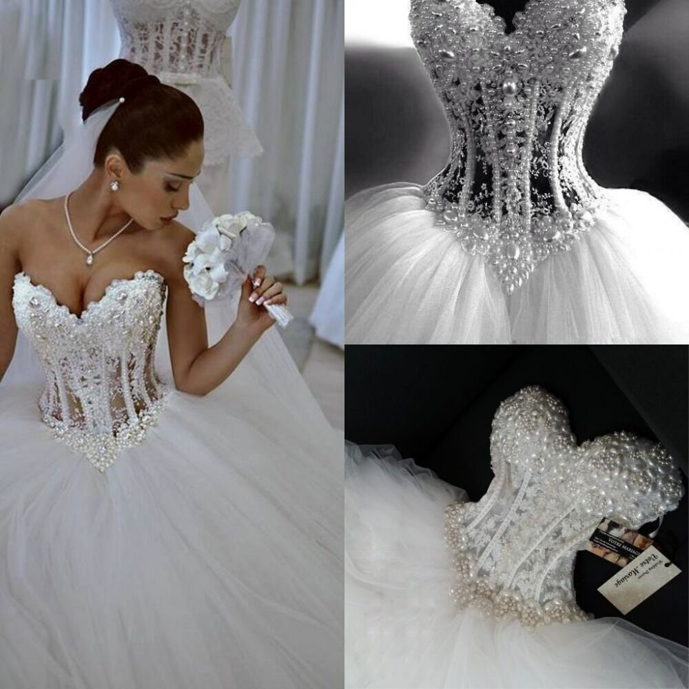 Sparkly Ball Gown Corset Wedding Dress Pearls Sweetheart Princess Bridal Gown  eBay