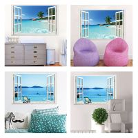 3D Beach Window View Removable Wall Art Sticker Vinyl