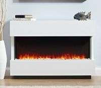 ELECTRIC WHITE SURROUND MODERN LED 2KW FLAME PEBBLE FIRE ...