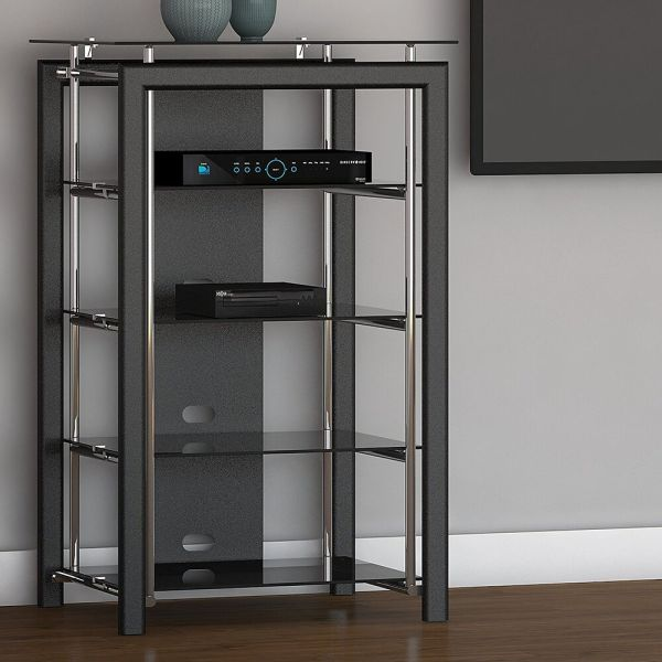 Black Chrome Media Stand Audio Tower Electronics Cabinet