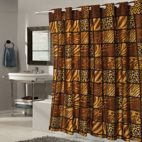 Ez Wild Encounter Animal Print Fabric Shower Curtain Hookless 70