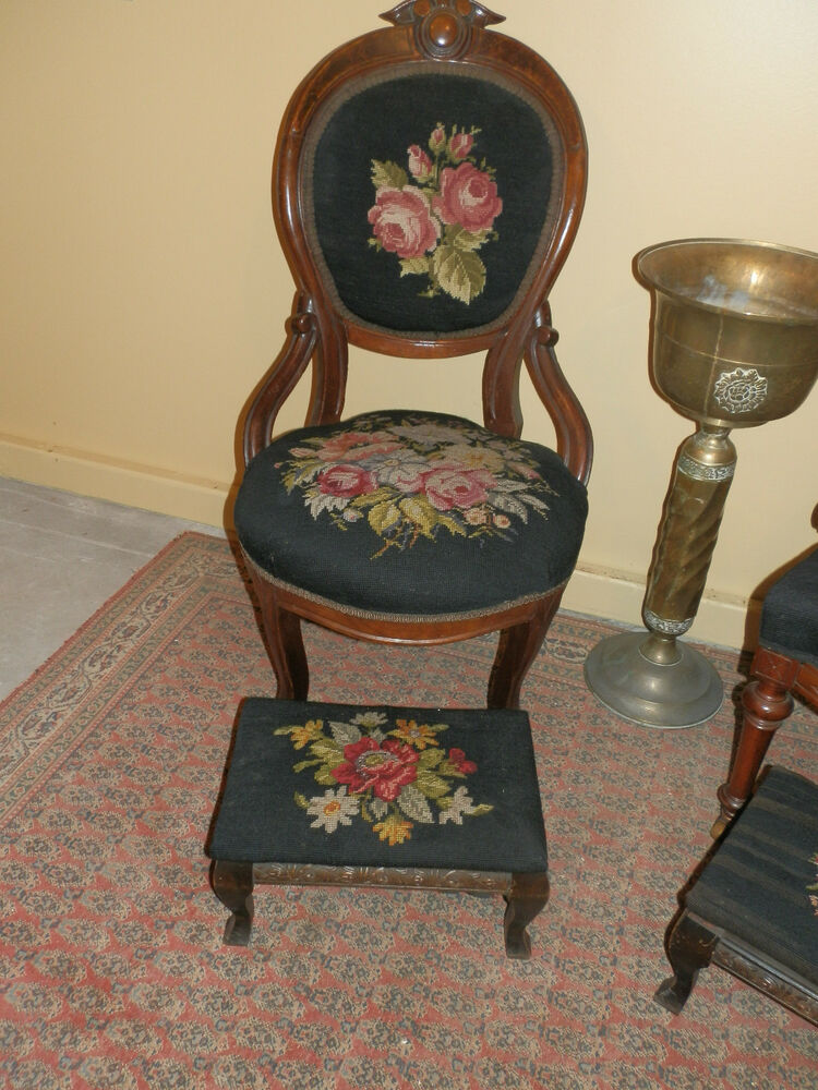 antique chairs ebay high back upholstered chair beautiful victorian needlepoint and stool pairing |