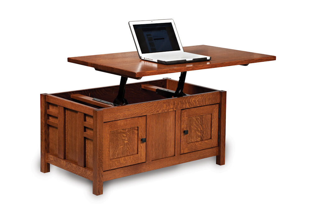 Amish Mission Lift Top Storage Coffee Table Computer