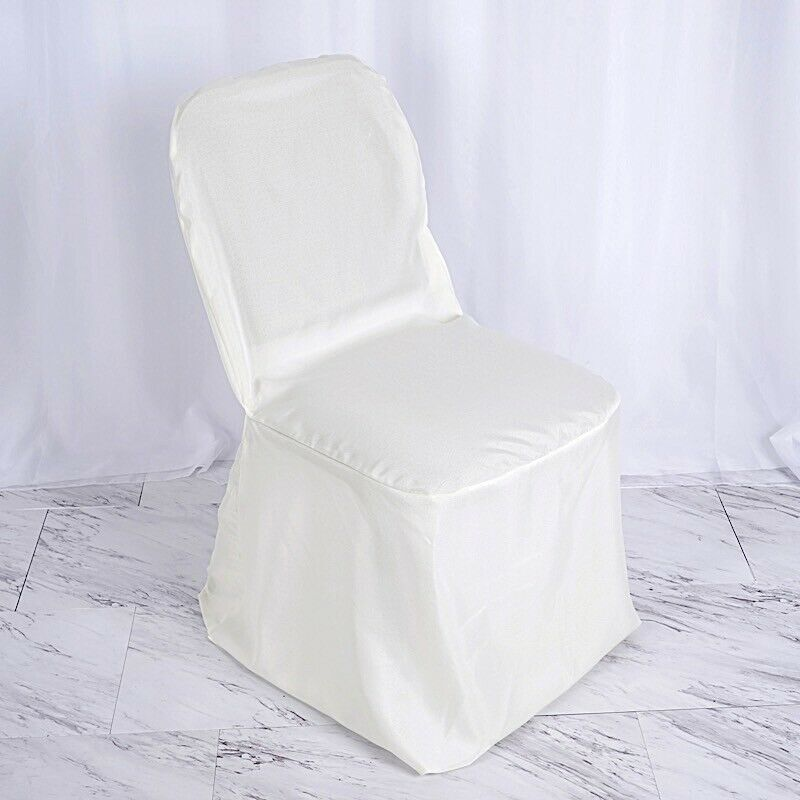 100 pcs Ivory POLYESTER BANQUET CHAIR COVERS Wedding
